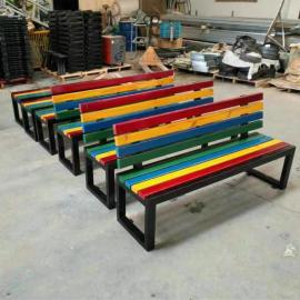 绿华户外塑木长条坐凳款式定制厂商 公园木塑长椅加工厂lh-yz
