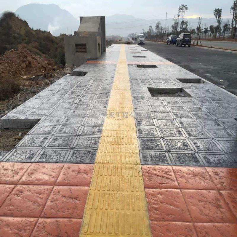 压纹混凝土 公园仿石板压模地坪 艺术压花施工模具