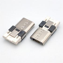 CMMICRO 3-A大电流 P公头焊线式短体 高导铜 前五后四 白胶