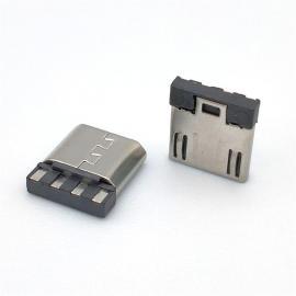 CMMICRO USB 5P公头焊线式超短体前五后四有弹7.65长 迈克公AM002