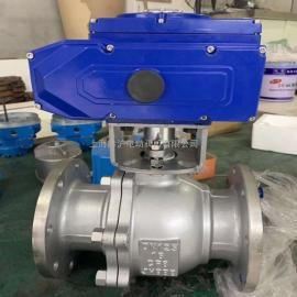 黔沪304不锈钢电动球阀Q941F-16P DN100