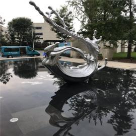 戈雅雕塑不锈钢太湖石水景雕塑金属雕塑