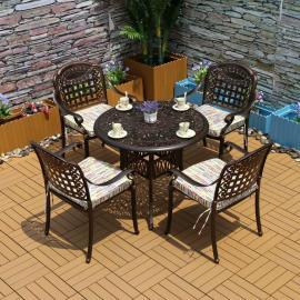 美尚铁艺桌椅 铸铝烧烤一桌六椅 花园户外家具MS-1580
