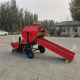 圣泰玉米秸秆青贮饲料自动打包机 圆草捆打捆机使用视频 YK5552