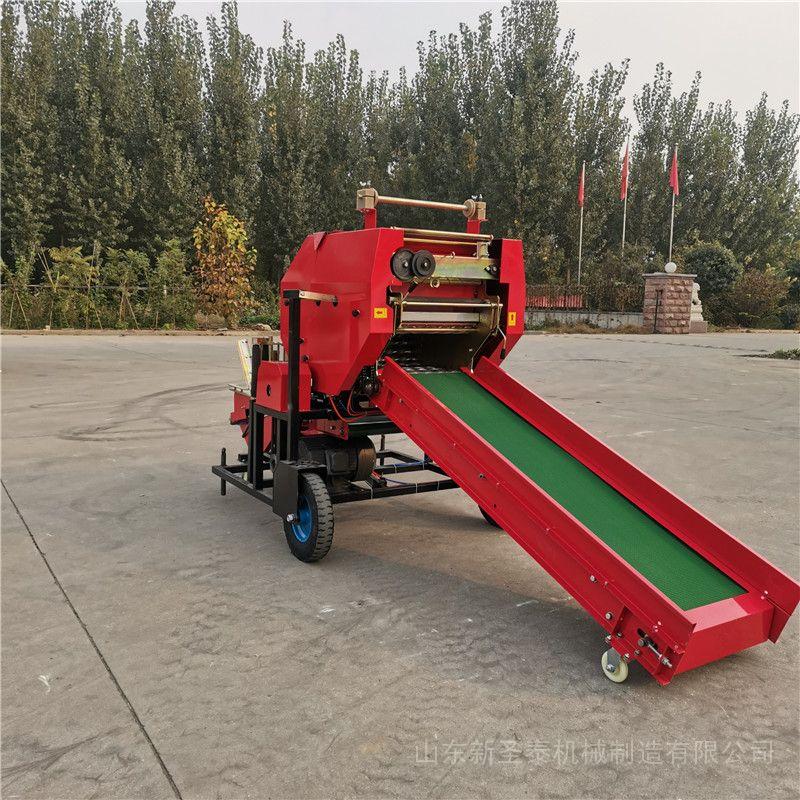 圣泰牛青储饲料制作配方 新鲜牧草粉碎打捆机 机器视频YK5552