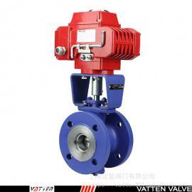 VATTEN电动V型衬氟调节阀 碳钢衬F46电动球阀VT2BF23A