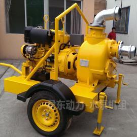 君东强自吸排污泵河道清淤大流量6寸柴油水泵 移动式柴油机水泵JDP-330