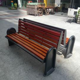 SG时景户外公园椅实木公园长椅广场椅铸铝防腐木实木公园靠背椅