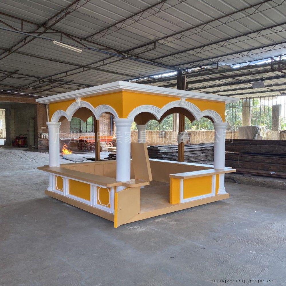 售货车时景家具定制木质移动售货亭,小吃街商用户外家具售卖车