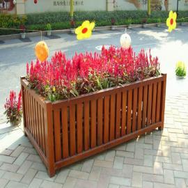 SG时景家具定做公园花盆 景区木制花箱 户外移动花蓝