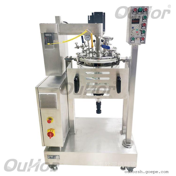 欧河实验室真空搅拌乳化混合设备-真空乳化玻璃反应釜AIR-10S