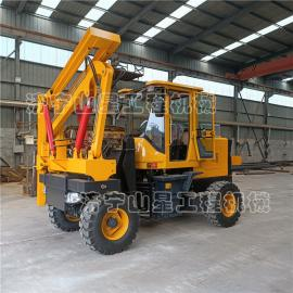 山星机械公路护栏打拔钻一体机 铲车di盘改装打zhuang机 S826