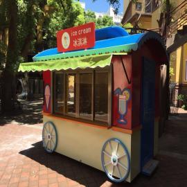 SG时景家具冰淇淋冷饮等玻璃钢售卖亭售卖车 移动花车
