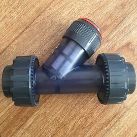 景辰耐腐蚀活接Y型过滤器 Y型过滤网PVC材质 DN20 DN25SJ-PVC SJ-PP