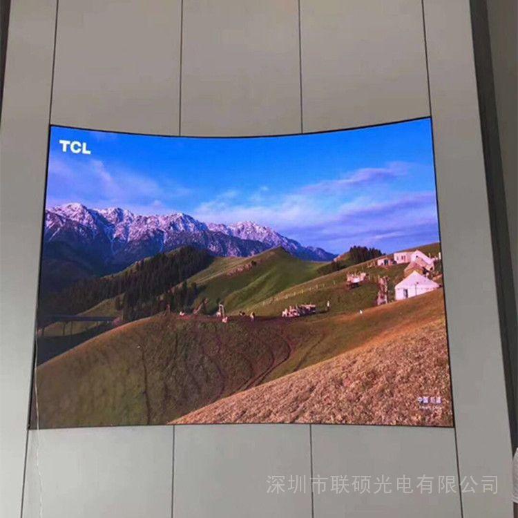联硕P1.86多功能大厅LED高清显示屏尺寸压铸铝箱挂墙安装效果