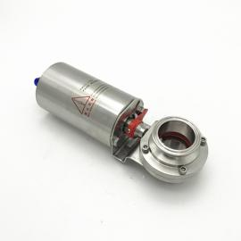 巨捷 快装粉体蝶阀 D681X-10P气动头卡箍式卫生级罐底阀