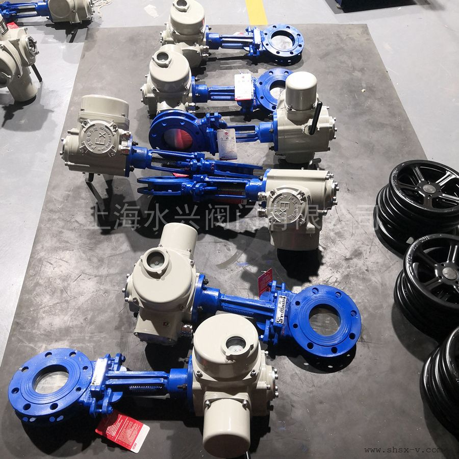 水兴阀门PZ973H-16C-DN100硬密封电动刀型闸阀 电动浆液阀 硬密封耐磨PZ973HXFW-6/10/16C/P等